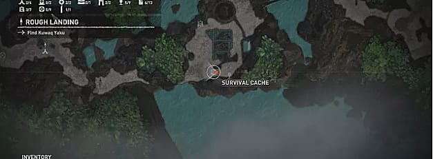 Map showing where to find the eighth survival cache