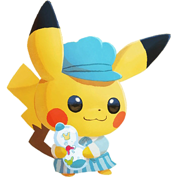 Sweets Pikachu wearing a blue hat and holding sweets.