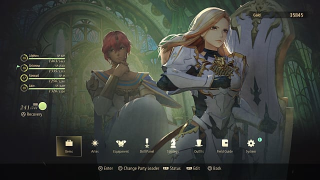 The menu for switching characters in Tales of Arise, showing Alphe, Shionne, Rinwell, and Law.