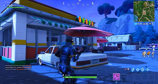 a player coming upon a white car parked outside one of the elusive taco shops