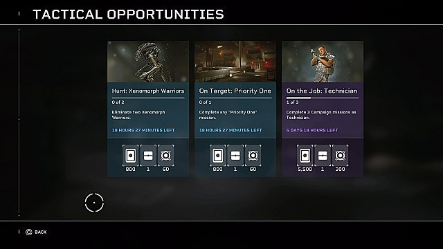 Three tactical opportunity challenge cards and their rewards.