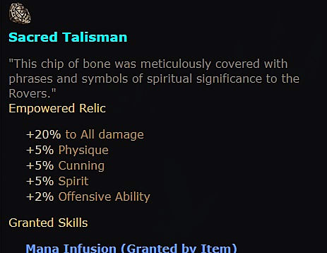Information related to the Sacred Talisman