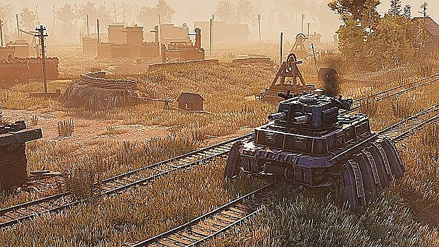 A tank mech with eight legs guards a depot scattered with powerlines and industrial machinery.
