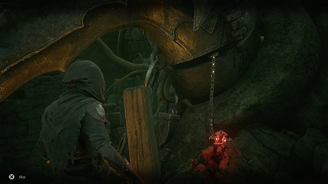 Tiel in thief's armor facing a red, glowing item chained to brass against a cliff.