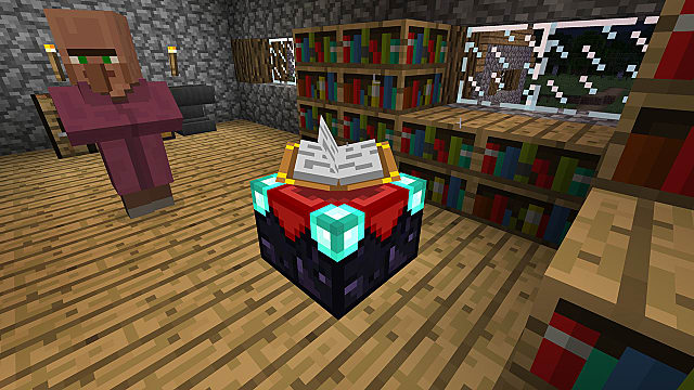 Minecraft Bedrock Edition in a house with a villager in front of an enchanting table surrounded by bookcases