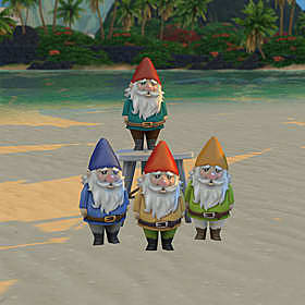 Three regular garden gnomes standing in front a fourth on a stool.