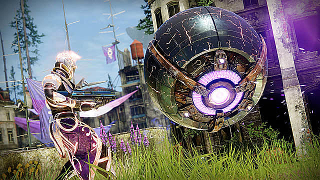 A Titan in gold and purple armor aims a fusion rifle at a Servitor in the EAZ.