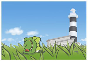 Frog in grass looking at lighthouse