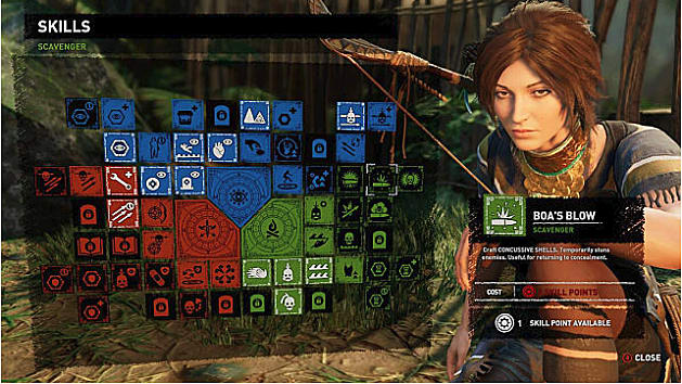 Skill tree showing Boa's Blow; Lara to right in blue heron tunic