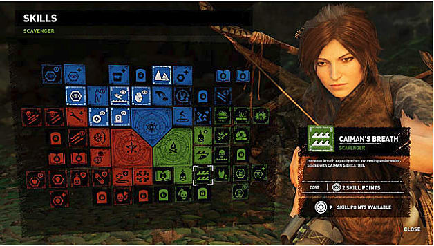 Shadow of the Tomb Raider Skill Tree Showing Caiman's Breath, Lara to Right
