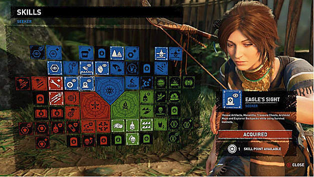 Skill tree showing Eagle's Sight; Lara to right with bow