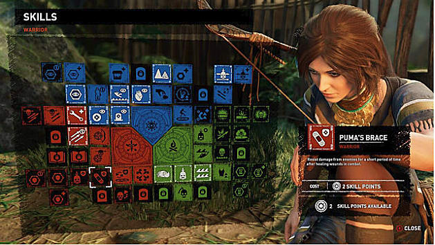 Skill tree showing Puma's Brace; Lara to right with bow