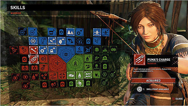 Skill tree showing Puma's Charge; Lara to right