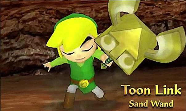 Toon Link with a sand wand.