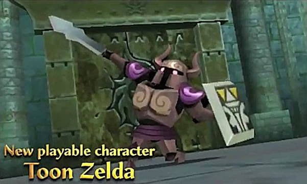 Toon Zelda knight holding a sword and shield.