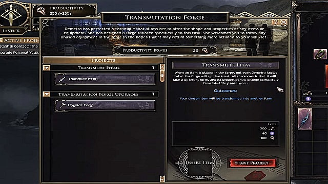 The transmutation forge menu in Wolcen, something you definitely shouldn't use yet.