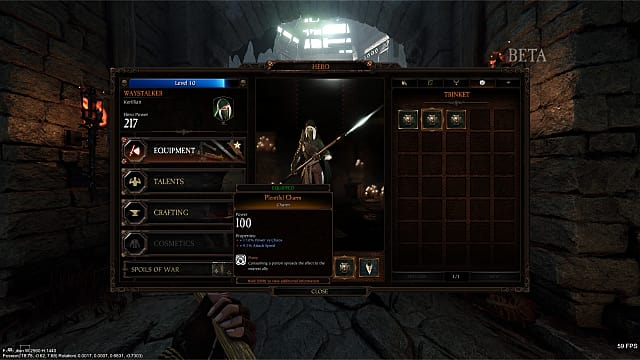 Equipping trinkets from the Warhammer Vermintide 2 menu screen