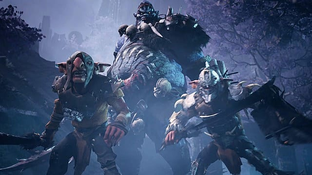 Two goblins in leather and bone armor standing in front of a large troll in the snow.