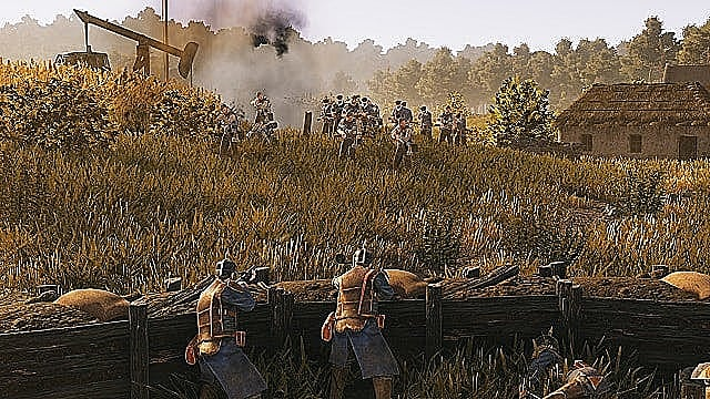 A dozen Polania foot soldiers group near an oil derrick to attack a Saxony trench in a field defended by two soldiers.