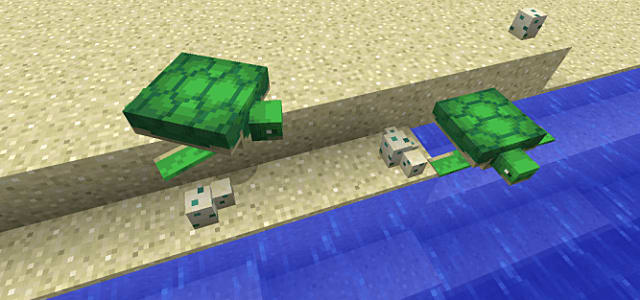 Turtles on a beach in Minecraft