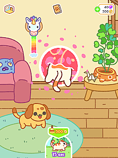 A cat jumps through a portal in a house wall in Kleptocats 2 while a dog stands in the forground