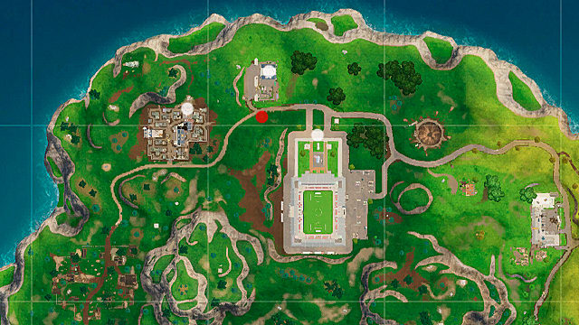 Fortnite map showing location of battlestar for week 9 challenges