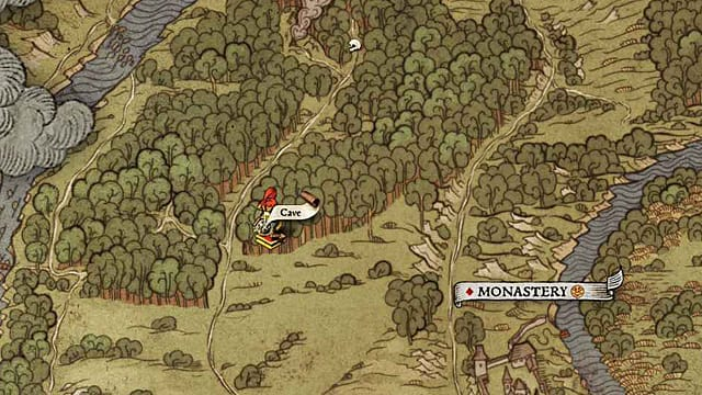This Kingdom Come Deliverance treasure map can be found in a cave