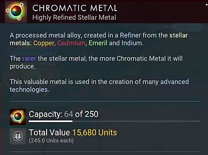 Chromatic metal entry in the No Man's Sky Beyond menu