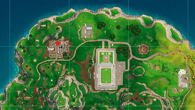 Fortnite map showing the location of the battle star map for week 9