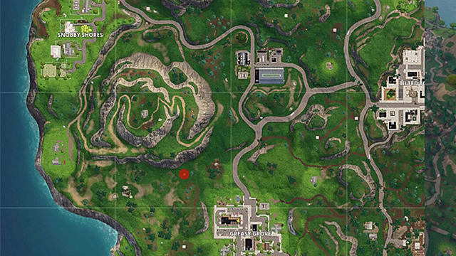 Fortnite map showing the battlestar location for week 6