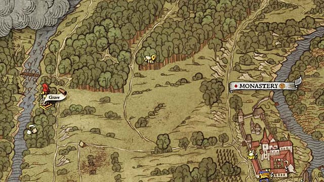 This Kingdom Come Deliverance treasure map can be found in a grave to the west of Monastery