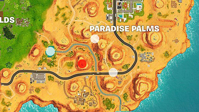 Close Up of the Fortnite Map Showing Paradise Palms