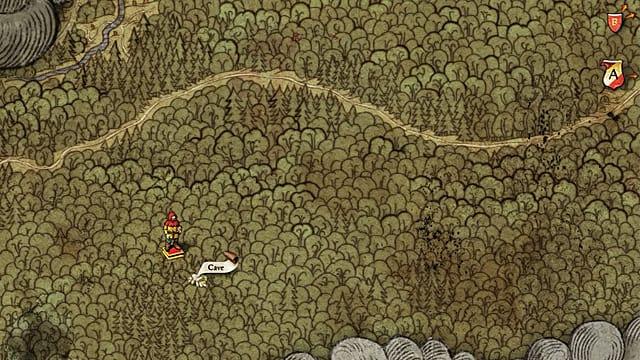 El jugador usa el mapa antiguo 3 para encontrar una cueva al oeste de Rattay