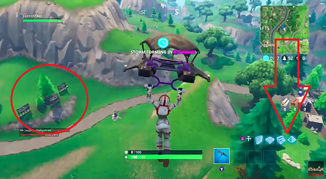 Fortnite Battle Star landing location circled in red