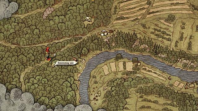 El jugador usa el mapa antiguo 2 para encontrar una ubicación interesante al noroeste de Rattay