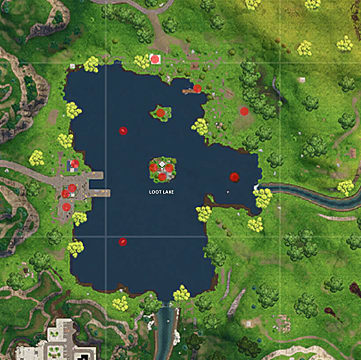 Map showing Loot Lake Chests