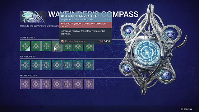 Wayfinder's Compass upgrades menu.