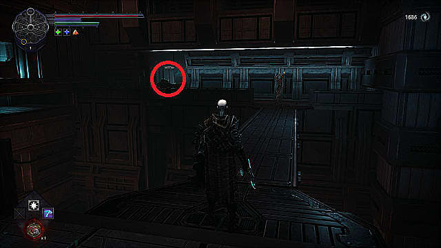 The spawn holds a blue lighted axe and shield as they look across a metal bridge at a demon and fish enemy.