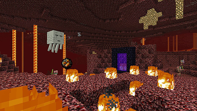 Minecraft Bedrock Edition in the Nether surrounded by fire and getting attacked by ghasts with a portal in sight