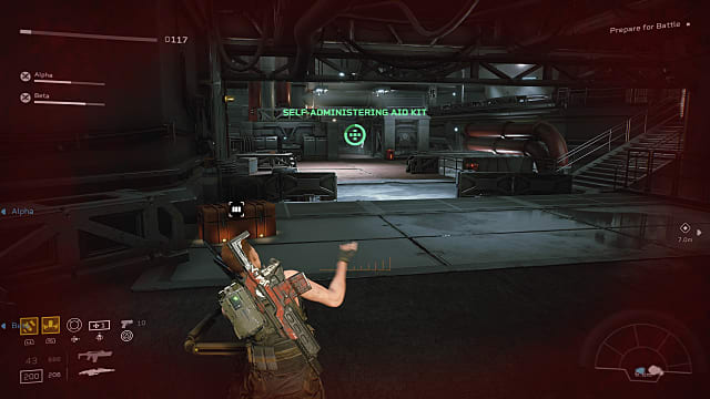 A player character administering first aid during a battle.