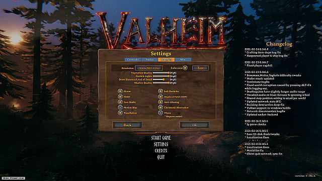 Valheim's settings menu and graphics settings.