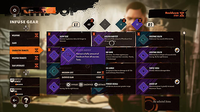 The Infuse Gear submenu showing all of the weapons, slabs, trinkets, and upgrades that can be upgraded.