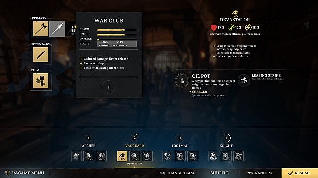 Chivalry 2 vanguard weapon equip screen showing war club stats.