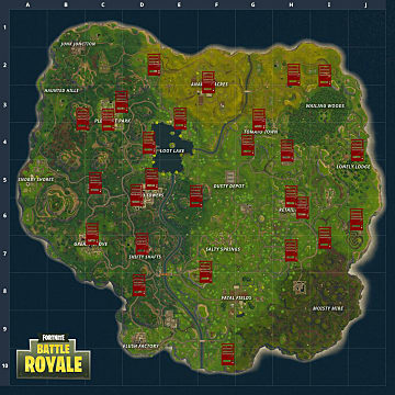 A large map showing all the current vending machine locations in Fortnite