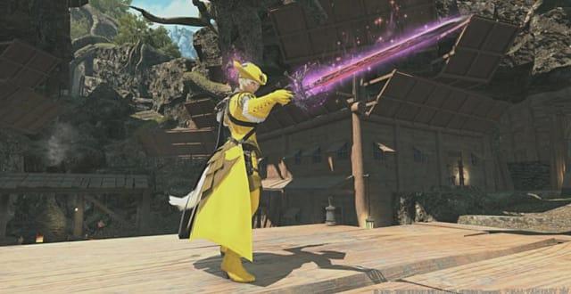 Yellow-clad FFXIV character wielding Eureka Anemos gear