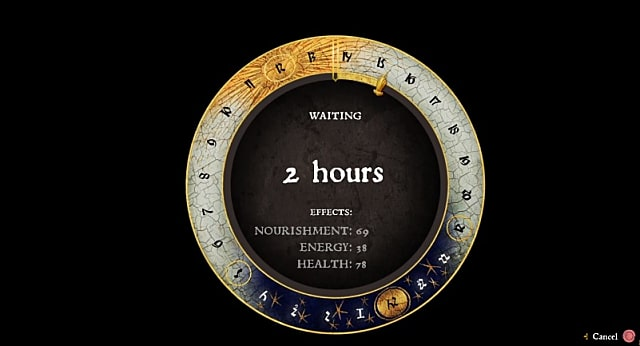 A lunar clock is shown while the player waits for the assassin in the Rocketeer quest.