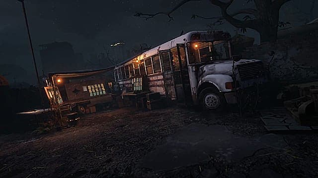 The bus camp and a crafting station shown in The Walking Dead: Saints & Sinners