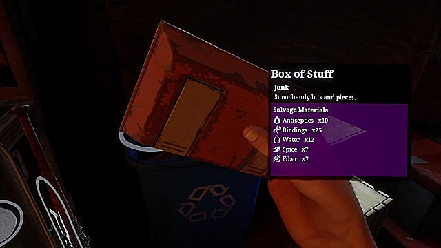 An orange box of stuff in The Walking Dead: Saints & Sinners