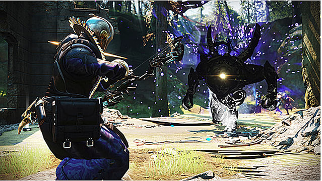 Warlock raises a bow toward a Hive enemy as it advances