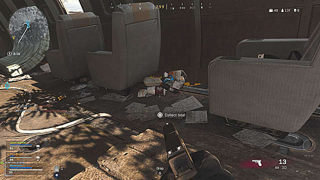 Fractured Intel 1 in-game location inside plane.